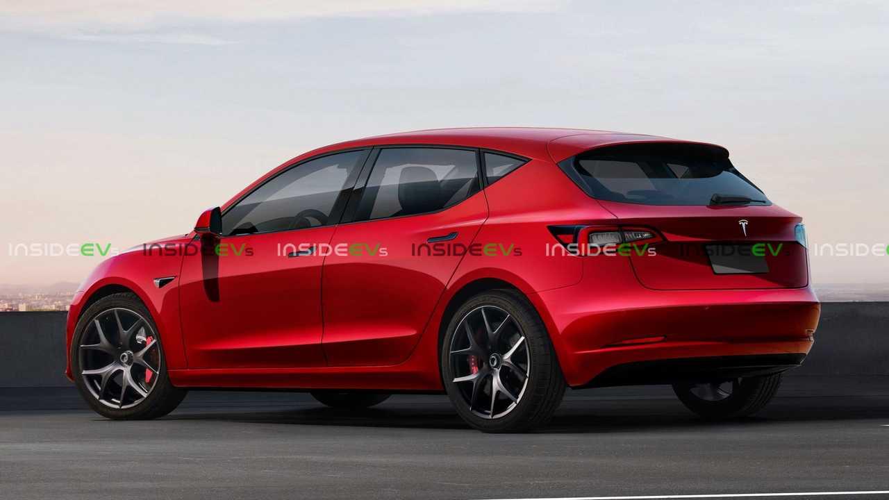 Tesla hatchback hátulról – látványterv