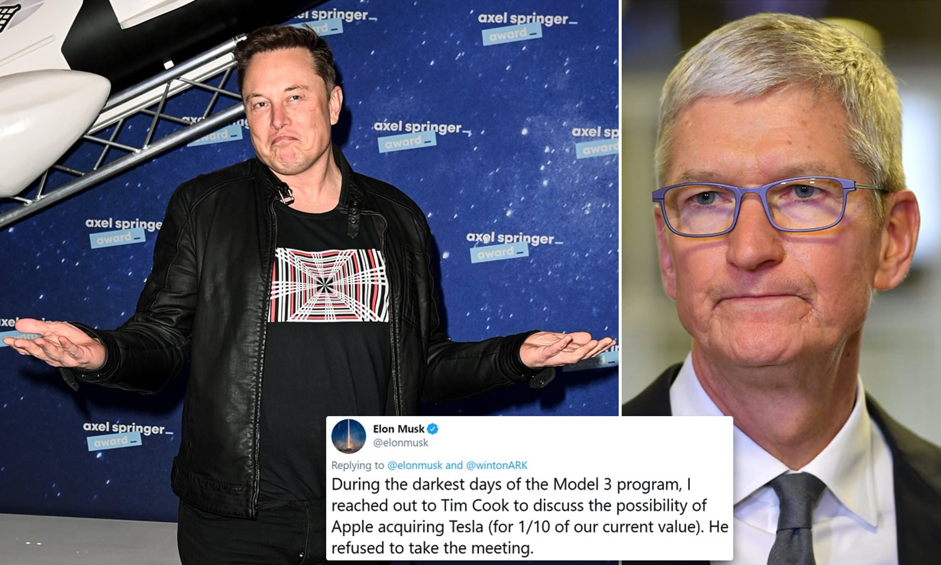 Elon Musk és Tim Cook egymás mellett, illetve az eladási szándékkal kapcsolatos Twitter-bejegyzés