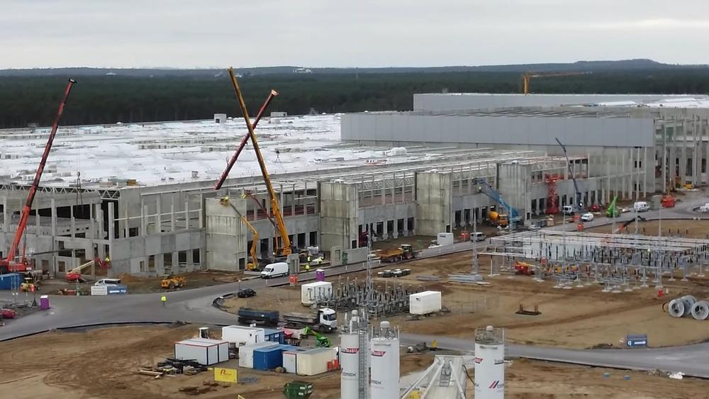 építkezés a Tesla Giga Berlin területén
