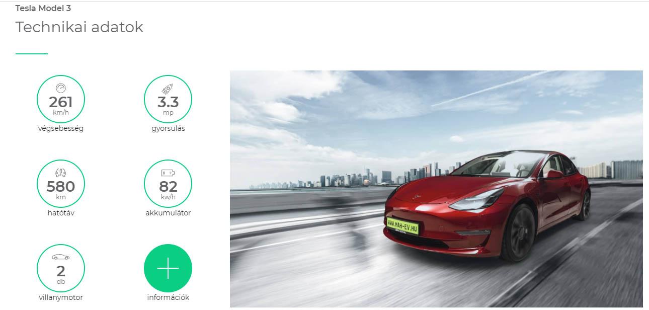 a Tesla Model 3 technikai paraméterei a MAH-EV.hu online konfigurátorában