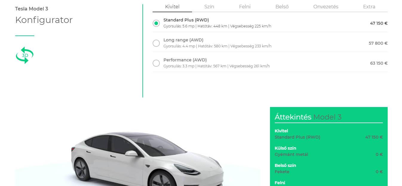 Tesla Model 3 online konfigurátor a MAH-EV.hu weboldalán