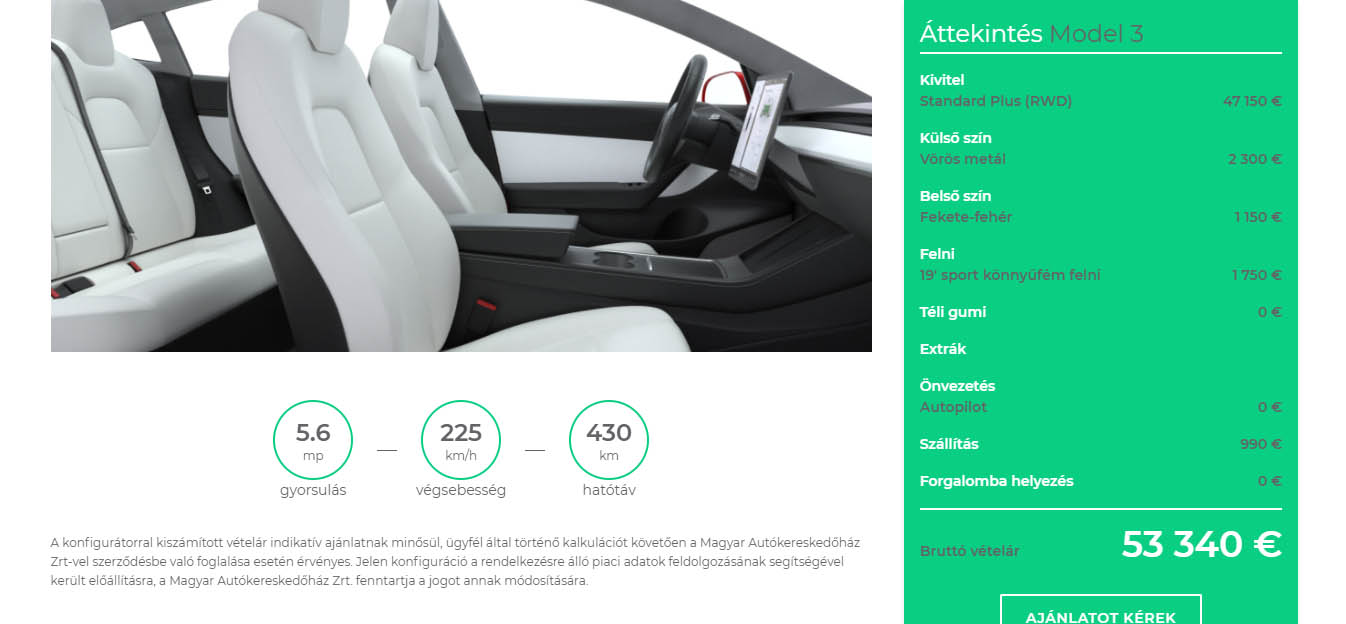 Tesla Model 3 utastere a MAH-EV.hu online konfigurátorában