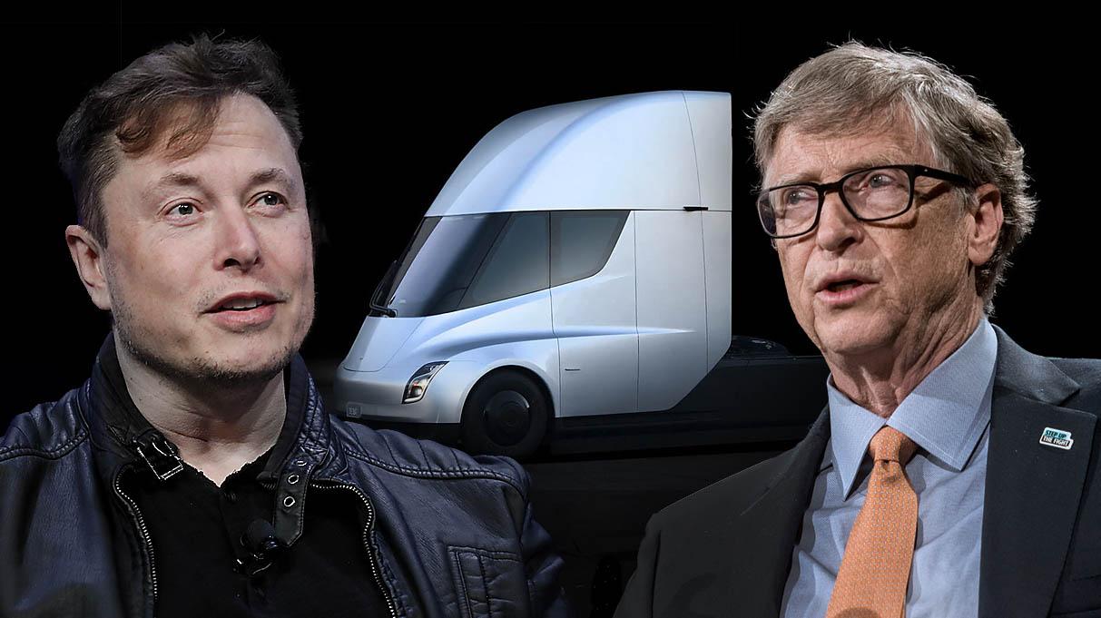 Elon Musk, egy Tesla Semi és Bill Gates egymás mellett – montázs