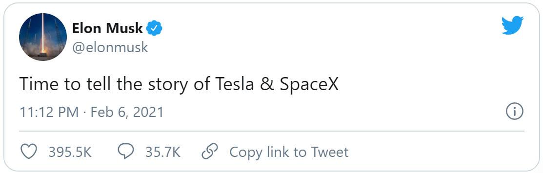 Elon Musk a Twitteren bejelenti, hogy könyvet ír a Tesla és SpaceX történetéről