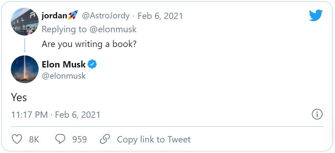 Elon Musk Twitter-bejegyzése a készülő könyvről