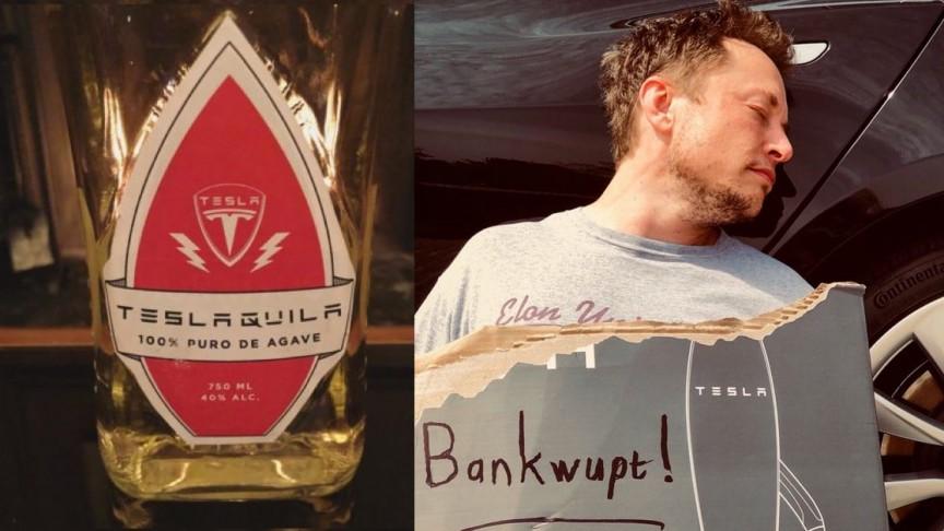 egy üveg Teslaquila és Elon Musk kiütve, csődbement feliratú táblával