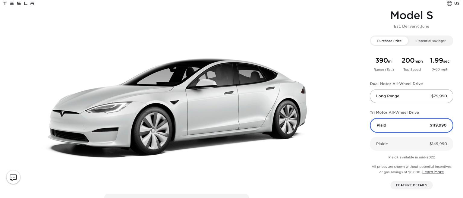 Tesla Model S a tesla.com webshopjában