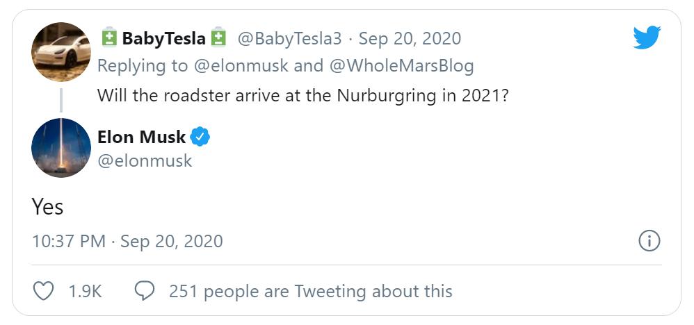 Elon Musk tweetje a Tesla Roadster nürburgrinig tesztjéről