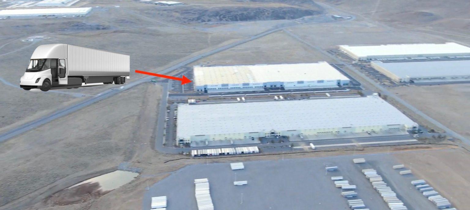 a Tesla Semi gyártósorának helye a Gigafactory Nevada területén