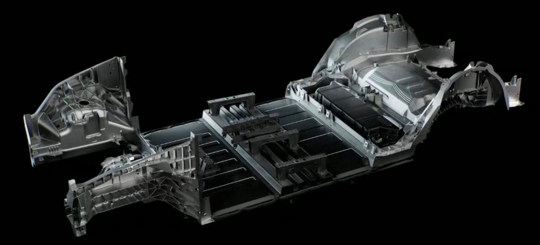 a Tesla forradalmi alvázkialakítása a középső részen az akkumulátorcsomaggal