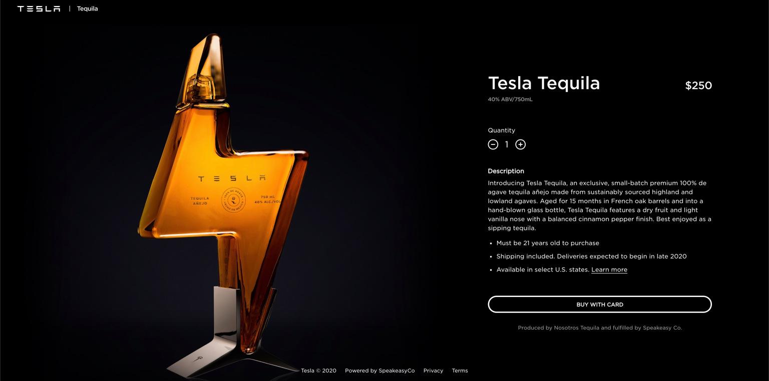 Tesla Tequila a Tesla webshopjában