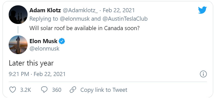 Elon Musk a Twitter-bejegyzése a Tesla Solar Roof kanadai bevezetéséről