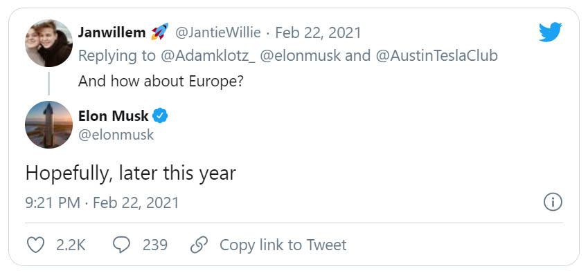 Elon Musk a Twitter-bejegyzése a Tesla Solar Roof európai bevezetéséről